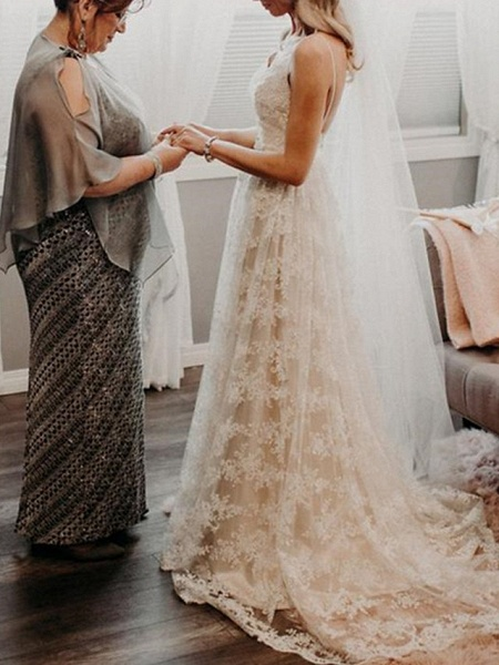 A-Line Wedding Dresses V Neck Sweep \ Brush Train Lace Spaghetti Strap Country Romantic Plus Size Backless_2