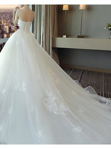 A-Line Wedding Dresses Strapless Court Train Polyester Strapless_3