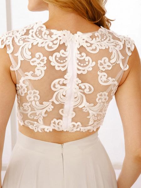Princess Two Piece Wedding Dresses Jewel Neck Floor Length Chiffon Sleeveless See-Through Beautiful Back Crop Top_9