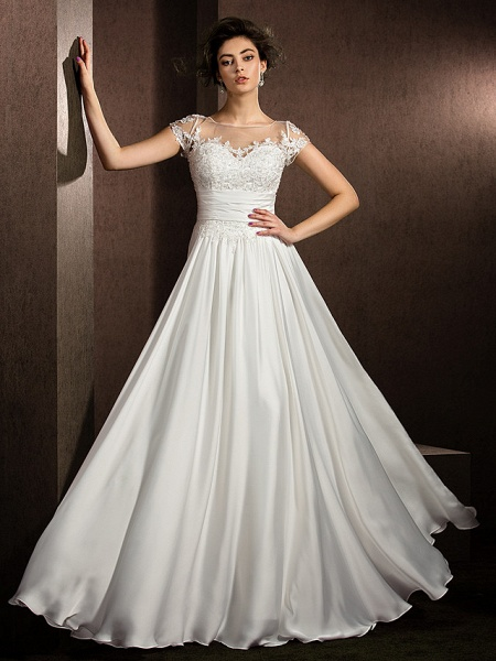 A-Line Wedding Dresses Scoop Neck Floor Length Satin Chiffon Short Sleeve Casual Plus Size_5