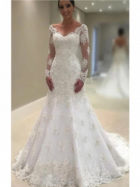 A-Line V Neck Court Train Lace Tulle Charmeuse Long Sleeve Formal Plus Size Illusion Sleeve Wedding Dresses_1