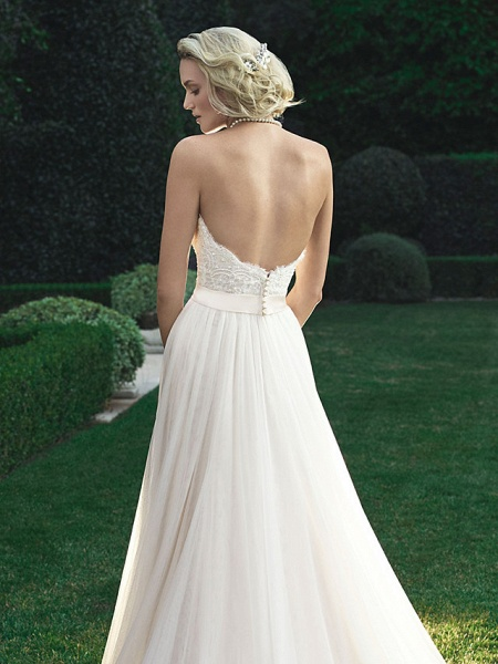 A-Line Wedding Dresses Sweetheart Neckline Court Train Polyester Strapless Beach Backless_5