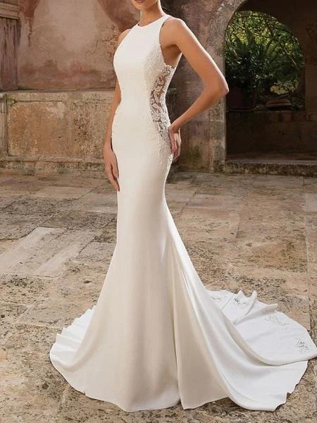 Mermaid \ Trumpet Wedding Dresses Jewel Neck Floor Length Polyester Sleeveless Country Illusion Detail_1