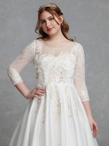 A-Line Wedding Dresses Scoop Neck Court Train Lace Satin Long Sleeve Romantic Glamorous See-Through Illusion Sleeve_8