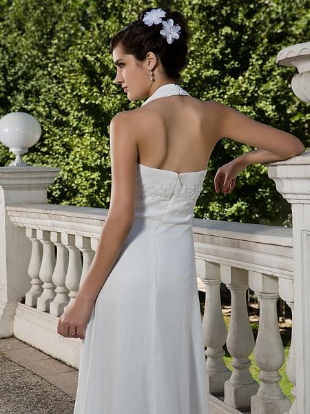 Sheath \ Column Wedding Dresses Halter Neck Sweetheart Neckline Asymmetrical Chiffon Sleeveless_6