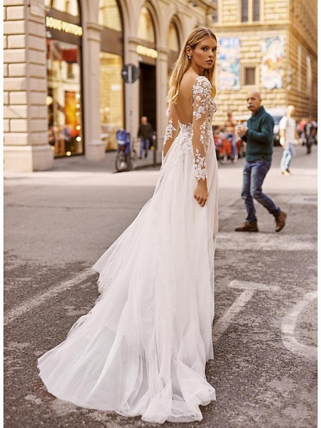 A-Line Wedding Dresses V Neck Court Train Lace Long Sleeve Country Formal Casual Illusion Sleeve_2