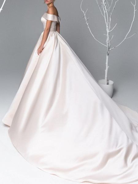 A-Line Wedding Dresses Off Shoulder Court Train Satin Short Sleeve Simple Plus Size Elegant_2