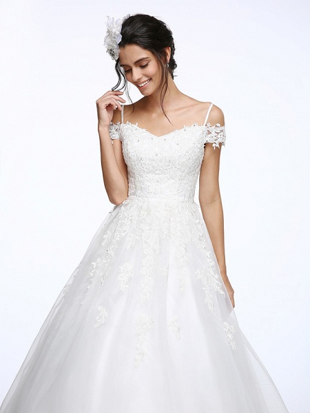 Ball Gown Wedding Dresses Off Shoulder Court Train Organza Beaded Lace Short Sleeve_7