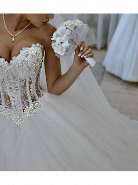 Ball Gown Wedding Dresses Strapless Floor Length Lace Tulle Sleeveless Formal Casual Plus Size_2