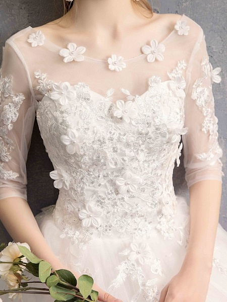 Ball Gown Wedding Dresses Scoop Neck Floor Length Lace Tulle Lace Over Satin Half Sleeve Country Vintage Illusion Sleeve_12