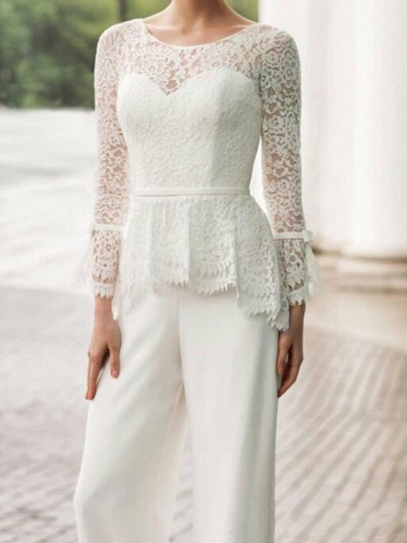 Two Piece Jumpsuits Wedding Dresses Jewel Neck Floor Length Lace Stretch Satin Long Sleeve Country Plus Size_2