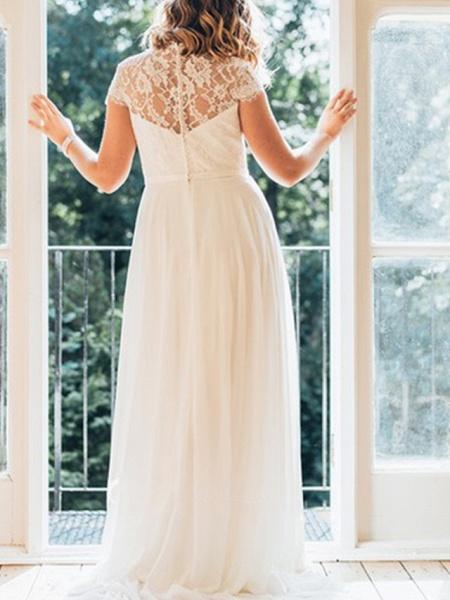 A-Line Wedding Dresses V Neck Sweep \ Brush Train Chiffon Lace Short Sleeve Simple Plus Size_2