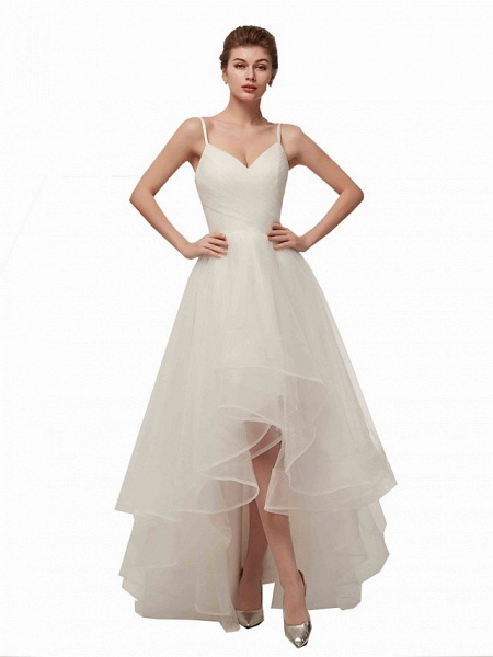 A-Line Wedding Dresses V Neck Asymmetrical Tulle Spaghetti Strap Simple Casual Little White Dress_10