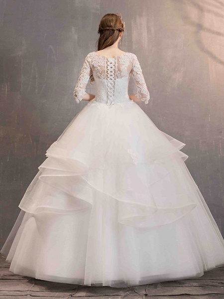 Ball Gown Wedding Dresses Jewel Neck Floor Length Lace Tulle Half Sleeve Glamorous See-Through Backless Illusion Sleeve_6