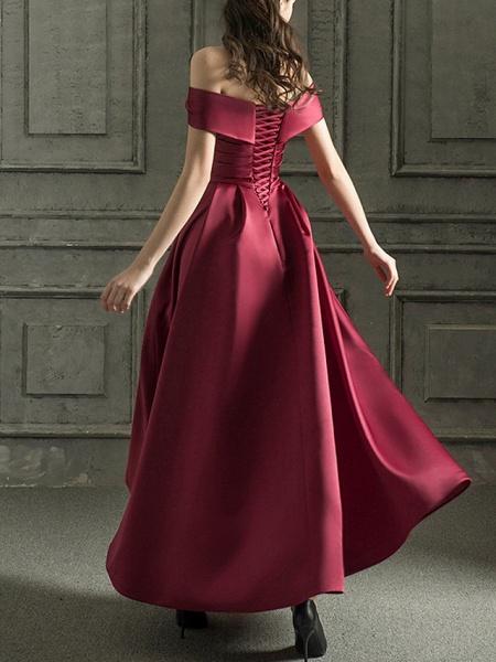 A-Line Wedding Dresses Off Shoulder Floor Length Satin Short Sleeve Beach Wedding Dress in Color_2
