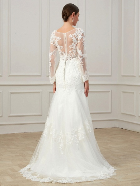 Sheath \ Column Wedding Dresses Jewel Neck Sweep \ Brush Train Lace Tulle Long Sleeve Formal Plus Size Illusion Sleeve_5