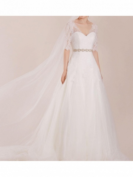A-Line Wedding Dresses Sweetheart Neckline Sweep \ Brush Train Polyester Half Sleeve Country Plus Size Illusion Sleeve_2