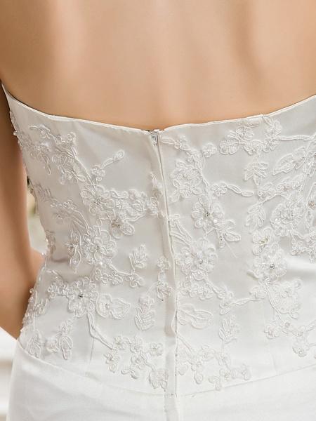 Mermaid \ Trumpet Halter Neck Court Train Satin Sleeveless Wedding Dresses_10