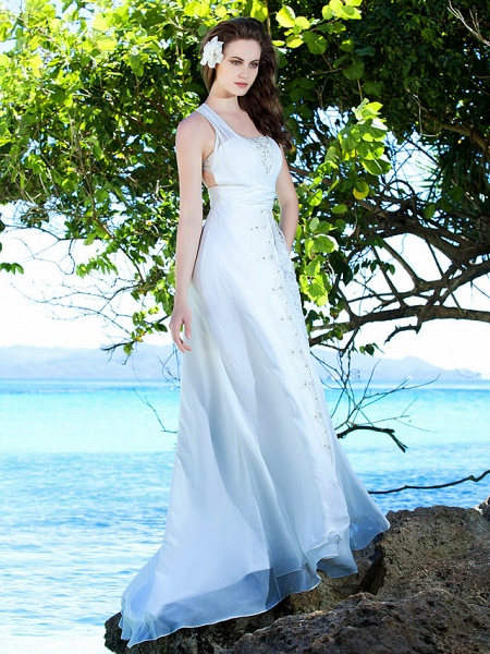 Sheath \ Column Wedding Dresses Straps Sweep \ Brush Train Chiffon Sleeveless_2