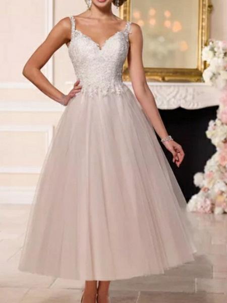A-Line Wedding Dresses V Neck Ankle Length Lace Tulle Spaghetti Strap Vintage Backless_2