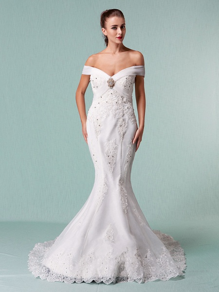 Mermaid \ Trumpet Wedding Dresses Off Shoulder Chapel Train Organza Short Sleeve_4