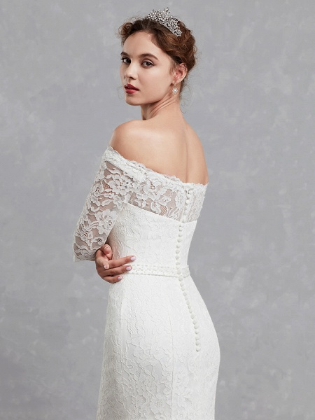 Mermaid \ Trumpet Wedding Dresses Off Shoulder Court Train Lace 3\4 Length Sleeve Cutouts_5