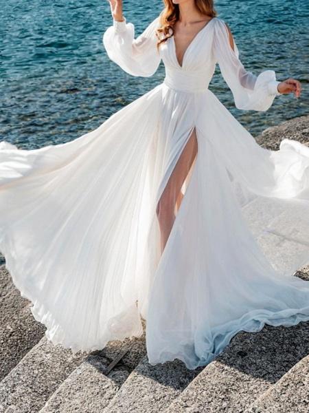 A-Line Wedding Dresses V Neck Sweep \ Brush Train Chiffon Over Satin Long Sleeve Simple Beach Sexy See-Through_1