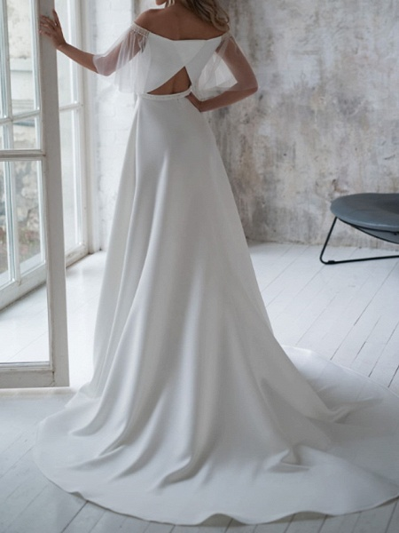 A-Line Wedding Dresses Off Shoulder Sweep \ Brush Train Stretch Satin Short Sleeve Country Illusion Sleeve_2
