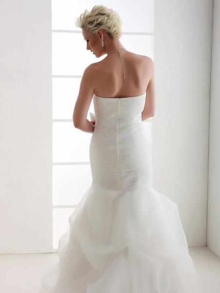 Mermaid \ Trumpet Wedding Dresses Strapless Court Train Organza Satin Sleeveless_9