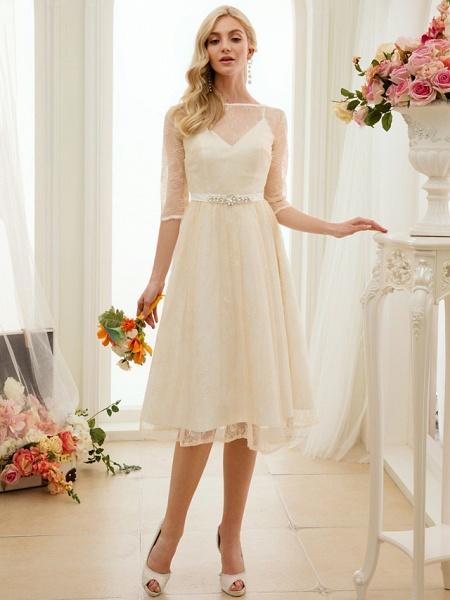 A-Line Wedding Dresses Bateau Neck Knee Length Lace Charmeuse 3\4 Length Sleeve See-Through_2