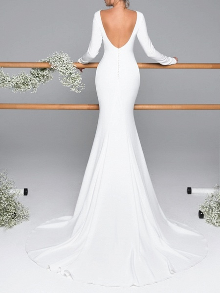 Mermaid \ Trumpet Wedding Dresses Bateau Neck Sweep \ Brush Train Satin Long Sleeve Mordern Backless_2