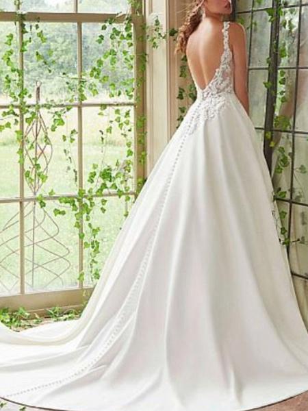A-Line Wedding Dresses V Neck Court Train Lace Satin Spaghetti Strap_2