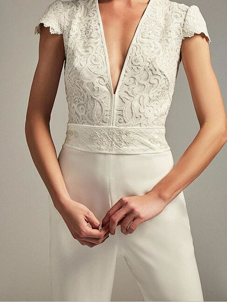 Jumpsuits Wedding Dresses Plunging Neck Floor Length Chiffon Lace Cap Sleeve Country Plus Size_3