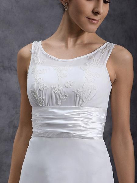 Sheath \ Column Wedding Dresses Scoop Neck Tea Length Chiffon Regular Straps Little White Dress_4
