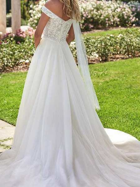 A-Line Off Shoulder Sweep \ Brush Train Lace Tulle Cap Sleeve Country Plus Size Wedding Dresses_2