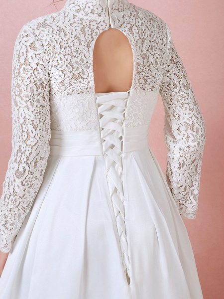 A-Line Wedding Dresses High Neck Floor Length Lace Satin Long Sleeve Formal Simple Plus Size_6