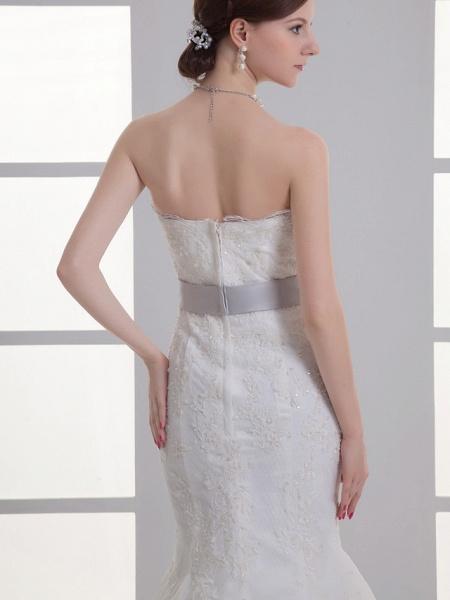 Mermaid \ Trumpet Strapless Chapel Train Lace Satin Strapless Wedding Dresses_5