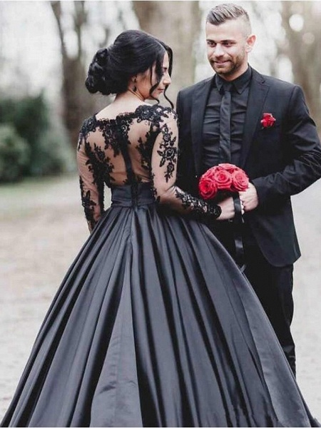 A-Line Bateau Neck Floor Length Lace Satin Long Sleeve Black Modern Illusion Sleeve Wedding Dresses_2