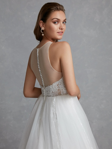 A-Line Wedding Dresses Jewel Neck Court Train Lace Tulle Regular Straps Glamorous See-Through Backless_9