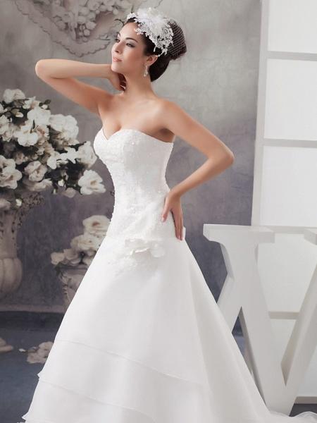 A-Line Sweetheart Neckline Chapel Train Organza Satin Strapless Wedding Dresses_4