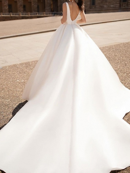 A-Line Wedding Dresses Plunging Neck Court Train Tulle Chiffon Over Satin Long Sleeve Formal Plus Size Illusion Sleeve_2