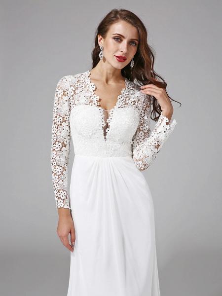Sheath \ Column Wedding Dresses V Neck Sweep \ Brush Train Chiffon Floral Lace Long Sleeve Romantic Boho Illusion Sleeve_7