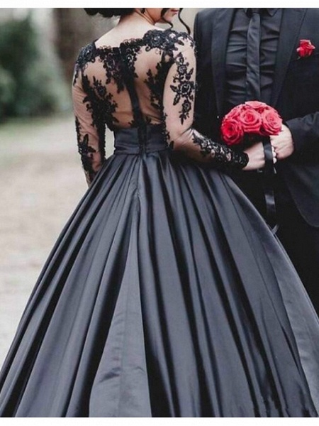 A-Line Wedding Dresses Scoop Neck Sweep \ Brush Train Lace Stretch Satin Long Sleeve Formal Black Modern_2