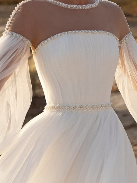 A-Line Wedding Dresses Jewel Neck Sweep \ Brush Train Lace Chiffon Over Satin Long Sleeve Country See-Through_3