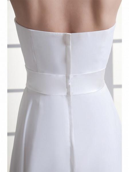A-Line Wedding Dresses Halter Neck Floor Length Chiffon Satin Strapless_6