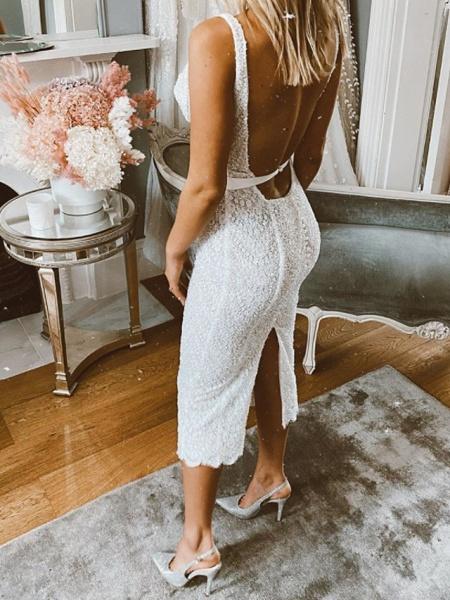 Mermaid \ Trumpet Wedding Dresses Spaghetti Strap Scoop Neck Tea Length Nylon Lace Sleeveless Boho Sexy Little White Dress_2