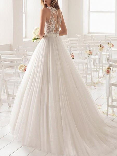 A-Line Wedding Dresses Jewel Neck Sweep \ Brush Train Lace Tulle Sleeveless Country Sexy See-Through_2