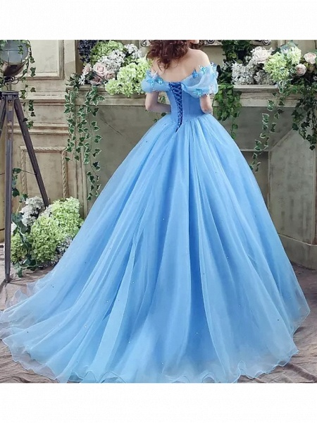 Ball Gown Wedding Dresses Off Shoulder Floor Length Polyester Short Sleeve Country Plus Size_4