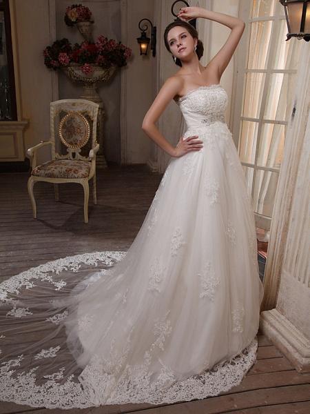 Princess A-Line Strapless Scalloped-Edge Chapel Train Satin Tulle Sleeveless Wedding Dresses_2
