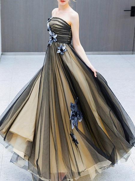 A-Line Wedding Dresses Strapless Sweep \ Brush Train Tulle Strapless Formal Black_3